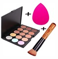 Professional Makeup Set 15 Colors Face Concealer Palette Foundation Brush Cosmetic Puff Facial Beauty Contour Make up Sponge Kit