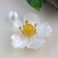High Grade Natural White Shell Flower Brooch Pendant Dual Purpose DIY Brooch Jewelry Accessories