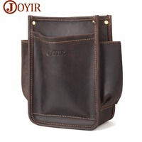 JOYIR New Men's Crazy Horse Genuine Leather Waist Bags Toolkit Casual Tool Pouch Waist Pack for Man Hardware Tool Bag Male 6382