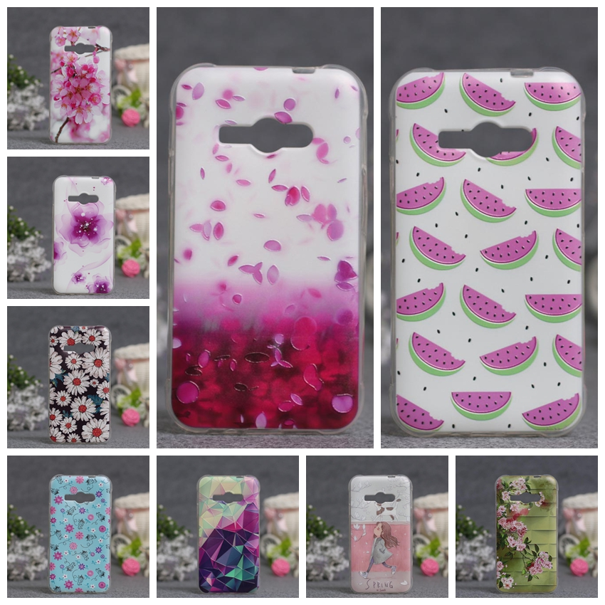 Luxury 3D Relief Flower Phone Case For Samsung Galaxy J1 Ace J110 Cases Soft TPU Cover For Samsung Galaxy J1 Ace Silicon Covers