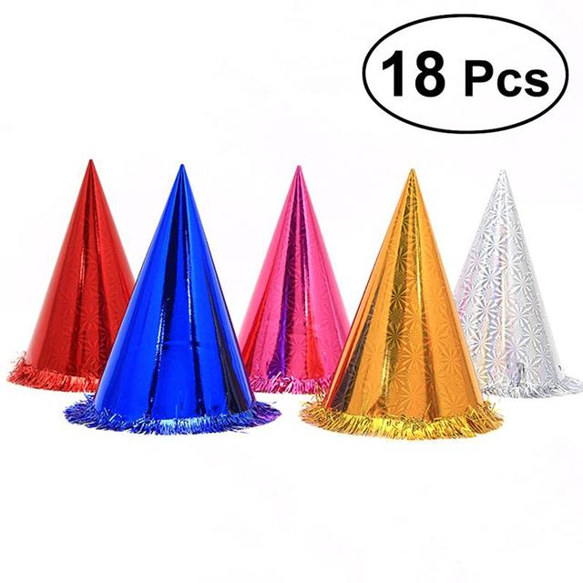 Birthday Party Cone Hats With Glittering Tassel Boarder For Kids And Adults Decorations