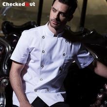 2017 летние с коротким рукавом куртка повара для женщин и человек ресторан и кухня рабочая одежда прочный с коротким рукавом готовить одежду