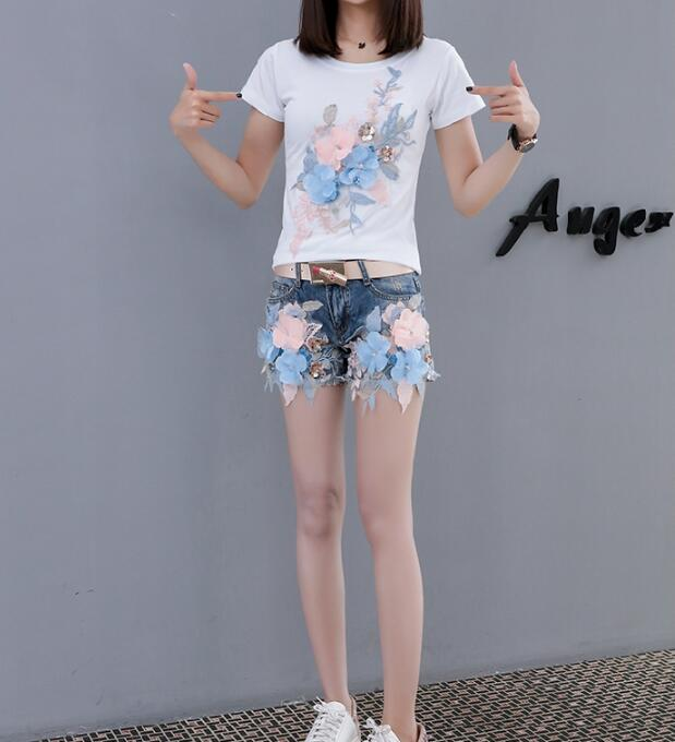 Women's Korean Fashion Summer Blue Flower Embroidery Shorts Female Sexy Tassel Jeans Plus Size Short Pants TB640