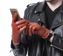 men 2017 fashion top touch screen winter warm real top leather gloves three colors
