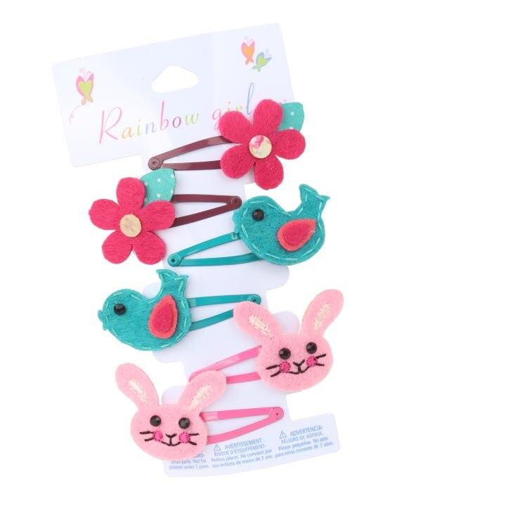 Módní květ pták králík vlasy klip vlasy příslušenství elastický klip na vlasy 4 cm vysoce kvalitní elastický vlásenka 6PCS / karta