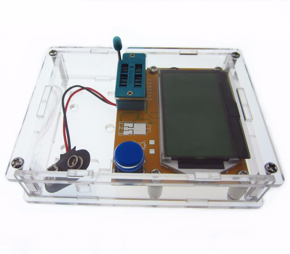 Diode Triode Kapazität ESR Meter MOS PNP LCR-T4 Transistor Tester LCD Display Mega328 Transistoren Dioden Mit Acryl Fall