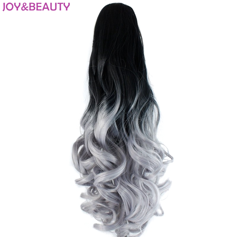 JOY&BEAUTY Hair Black Gray Ombre Synthetic Hair Long Wavy Claw Ponytails 22