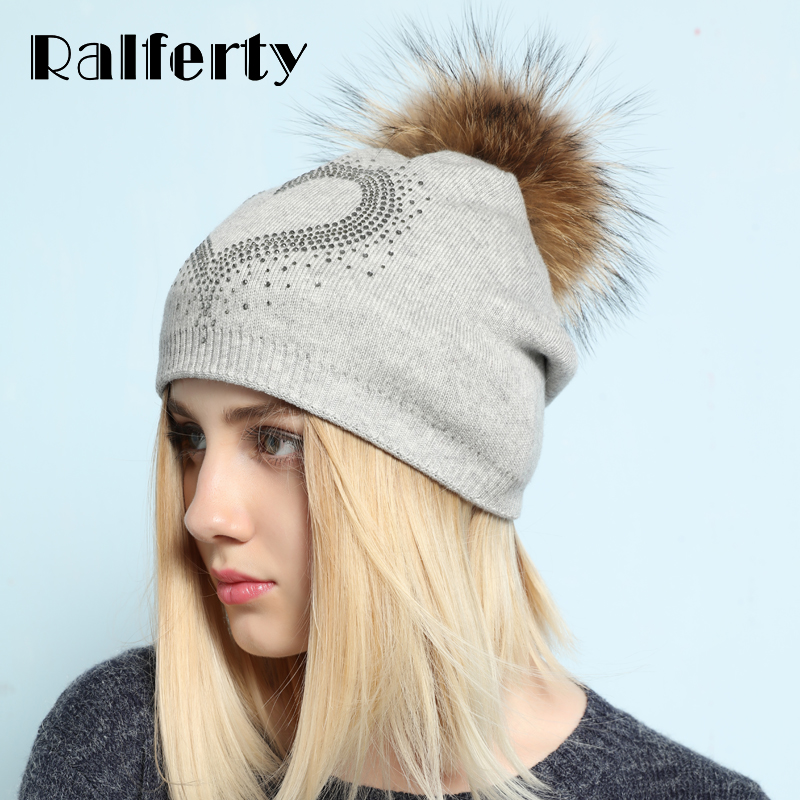 Ralferty 2017 New Real Fur Pompom Hats For Women Heart Pom Pom Beanies Thick Warm Wool Knitted Hat Women's Baggy Caps Bonnet new winter men and women crochet warm thick plus velvet knitted hats skull caps wool fur ball pompom beanies hat ht8238