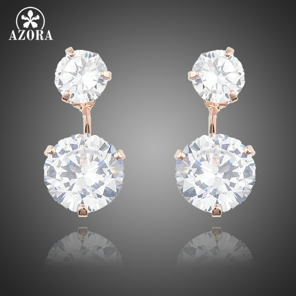 Rose Gold Color with 2pcs Clear Cubic Zirconia Drop Earrings For Women TE0230