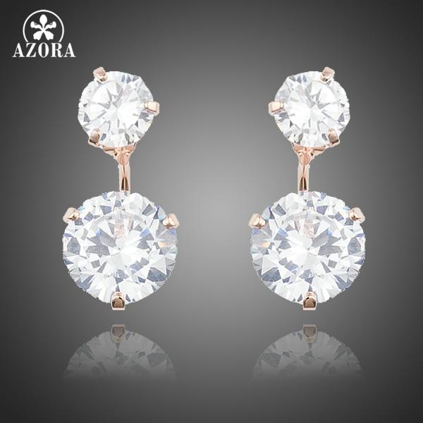 все цены на AZORA Rose Gold Color with 2pcs Clear Cubic Zirconia Drop Earrings For Women TE0230 онлайн