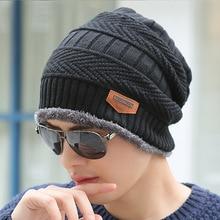 Boys Men Winter Hat Knit Scarf Cap Winter Hats for Men Caps Warm Fur Skullies Beanie