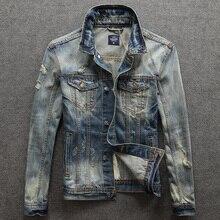 Fashion Streetwear Men Jacket Retro Washed Destroyed Designer Ripped Denim Coats Superably Brand Biker Jackets hombre
