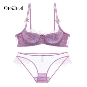 Image 5 - Young Girl Green Sexy Bra Set Plus Size D Cup Thin Cotton Brassiere Lace Underwear Women Sets Black Embroidery Lingerie Luxury