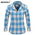 Alta Qualidade Mulher Blusas Xadrez Blusa Camisa Casual Manga Comprida Blusas Femininas Blusas Femininas Camisas de Flanela Mulheres Topos