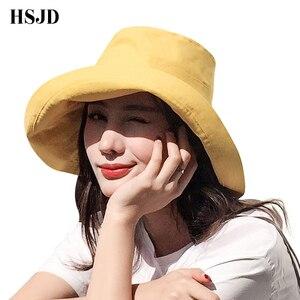Image 1 - Double sided Beach Hats Women Summer Large Wide Brim Foldable Sun Hat Chapeau Female Girl Plain Anti UV Sun Visor Floppy hat