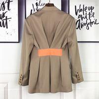 2019 Весна Новый женский Блейзер высокого качества сзади цвет контрастной ленты талии дизайн силуэт длинный костюм куртки