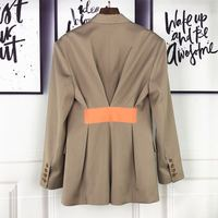 2019 spring new women's high quality blazer back color contrast tape waist design silhouette long suit jackets