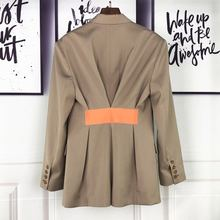 2019 spring new women's high quality blazer back color contrast tape waist desig