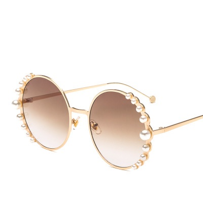 COOLSIR Brand Sunglasses Women Luxury Pearl Sunglasses Vintage Round Sun Glasses Shades for Women Gold Metal Oculos UV400 in Women 39 s Sunglasses from Apparel Accessories