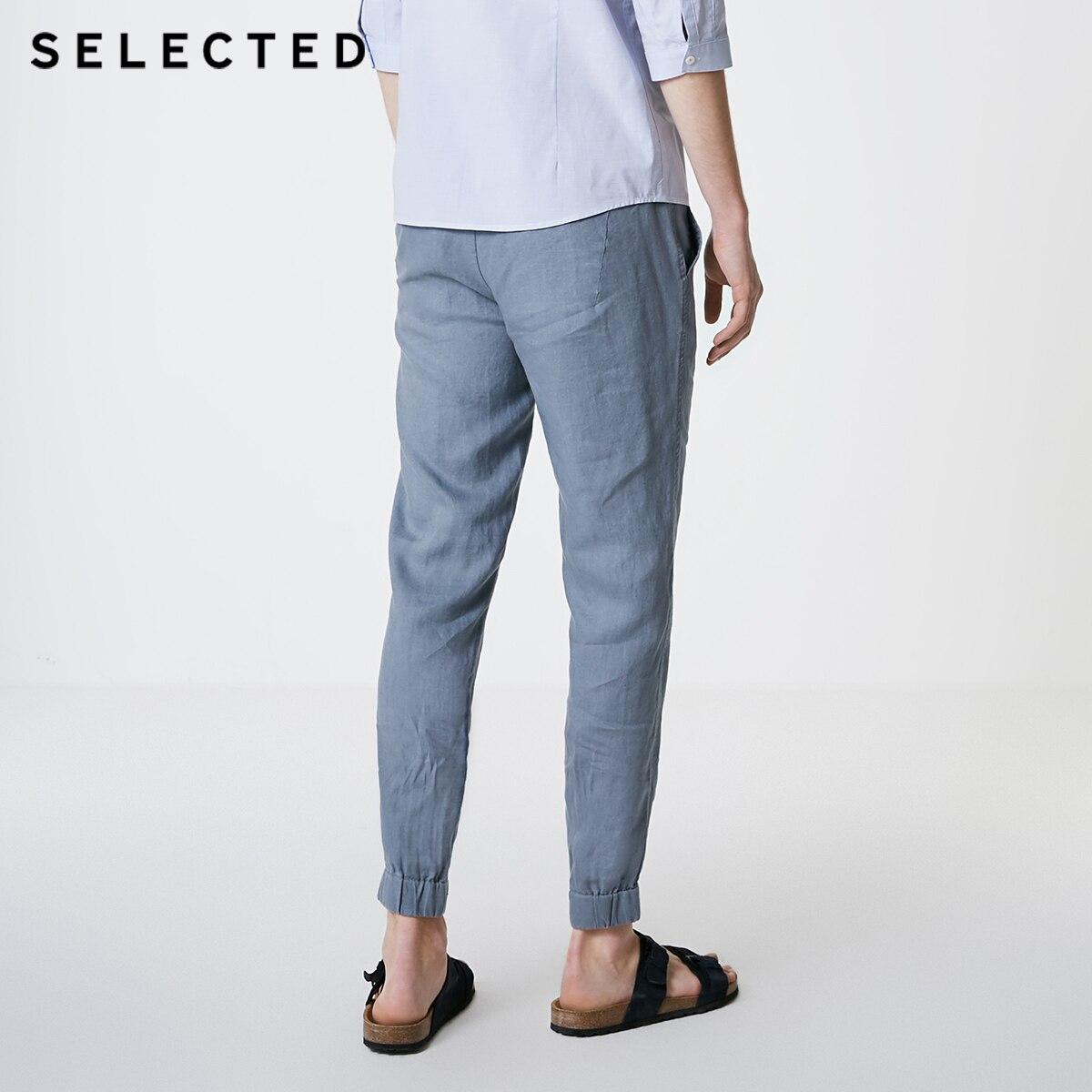Puro 419214523 Seleccionados De Color Blue black Sand Pantalones Suelta Lino S Light Ajuste electric blue Casuales ragzIn1aW