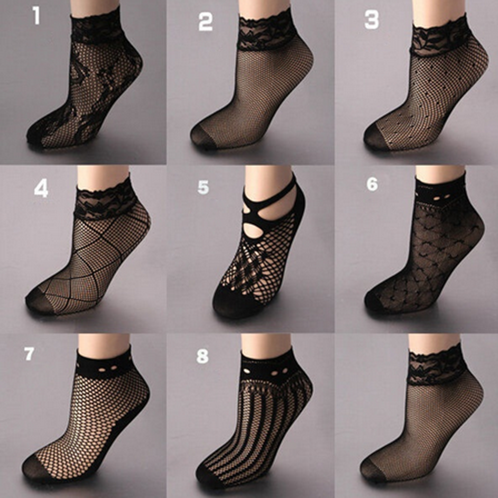 transparent Women sexy mesh nylon silk   socks   ultrathin short   socks   with lace high elasticity female summer