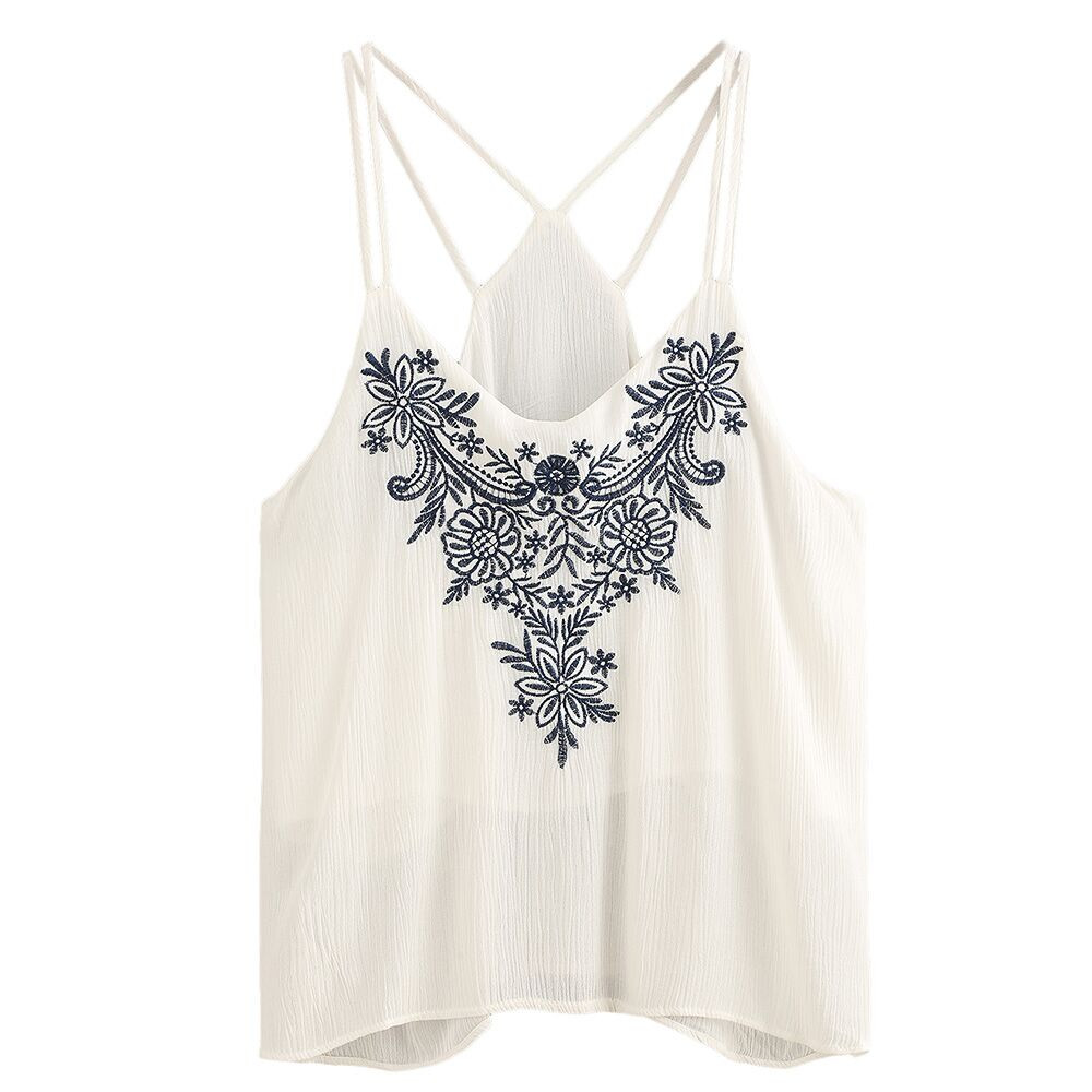 Women Ladies Floral Embroidery Vest Blouse Fashion Summer Tank Cropped Tee Tops