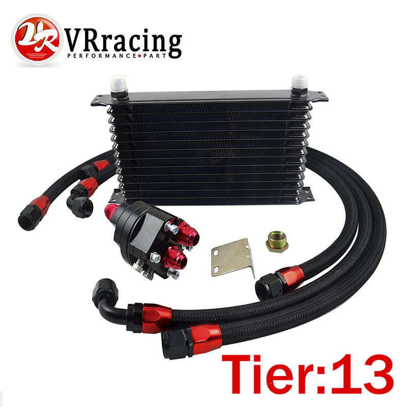 VR RACING - Universal 13 Row 10AN Aluminum Engine Transmission Oil Cooler Relocation Kit Oil Cooler Kit VR5113BK+6724BK+3PCS pqy store blue 15 row an 10an universal engine oil cooler kit aluminum hose end kit pqy5128