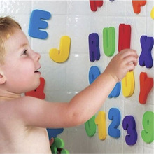 36pcs/Set Alphanumeric Letter Puzzle Baby Bath Toys Soft EVA Kids Water For Bathroom Early Educational Suction Up Toy
