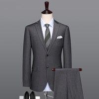 Мужской костюм серый мужской пуловер мужские свадебные костюмы формальный мужской Жених однобортный Блейзер жилет брюки 3 шт. комплект плю