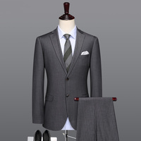 men suit grey striped slim fit men suits for wedding formal man groom single breasted blazer vest pant 3pcs set plus size 58 56