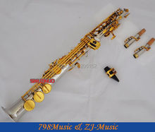 Silver-Gold Plated Soprano Saxophone Bb key to High F key and G key-2 Neckes