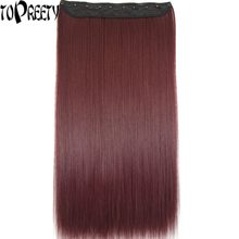 "TOPREETY Heat Resistant B5 Synthetic Hair 24"" 60cm 130g Silky Straight 5 clips on clip in hair Extensions 30 colors available(China)"