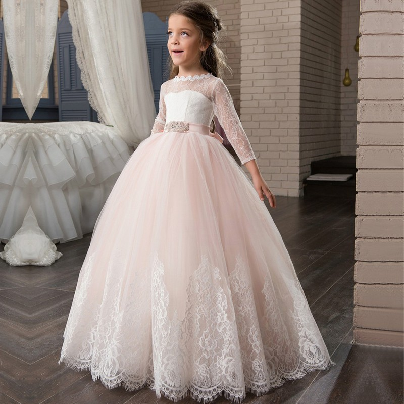 Ball Gown Princess Flower Girl Dresses With Long Sleeve Lace Mother Daughter Dresses With Crystal Belt For Girls Christmas Party new red champagne flower girl dresses long sleeves lace satin mother daughter dresses for children christmas party prom gown