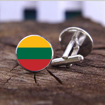 Fashion handmade Cufflink Classic Style Lithuanian national flag dome glass Steampunk Art Picture High Quality Cufflink jewelry image