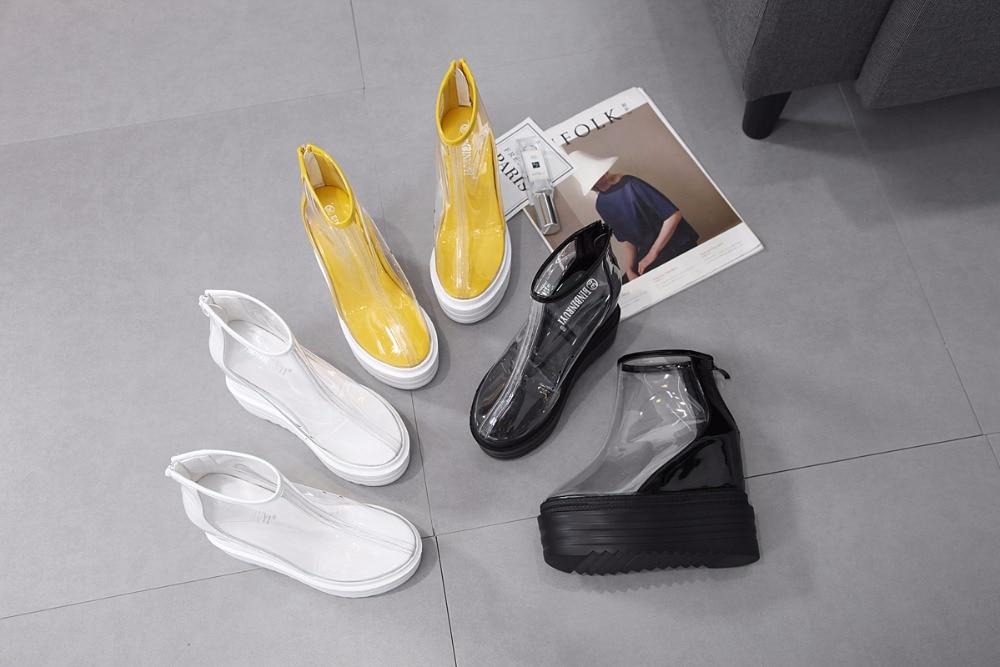 Lluvia Tacón Alto Martin Negro De blanco amarillo Las Nuevo Mujeres Y Americano Europeo Cortas Transparentes Cuñas Botas Wq6vO7w4PW
