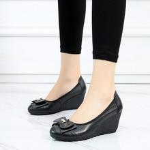 Купить с кэшбэком AARDIMI Spring Platform Women Shoes Genuine Leather Casual Slip-on High Heels Butterfly-knot Shallow Wedges Shoes Women Pumps