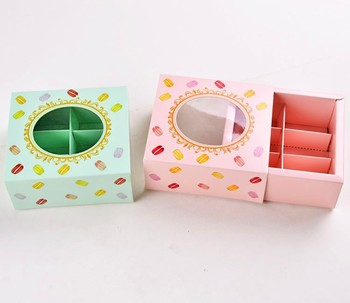 12*11*5.2cm Macaron cake paper box with Window Biscuits Packaging Box 3 colors100pcs/lot Free shipping