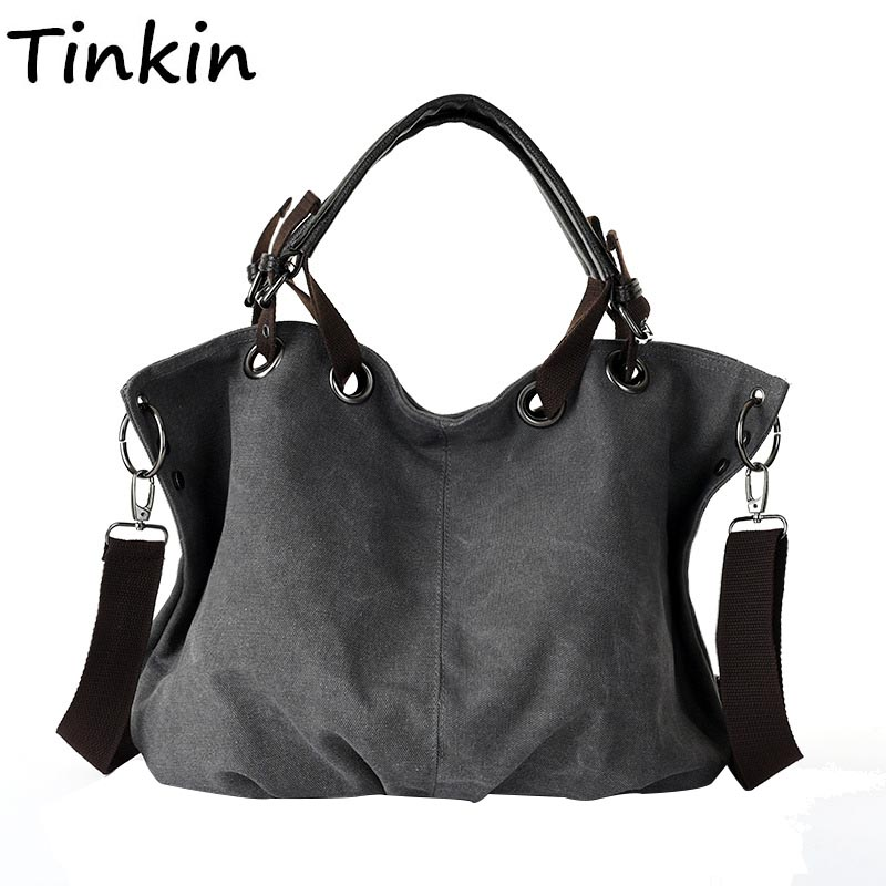 Tinkin Women Female Canvas Bag Vintage Shoulder Bag Large Capacity Fashion Handbag Mori Women Hobos Bag Daily Use Sac Femelle high quality travel canvas women handbag casual large capacity hobos bag hot sell female totes bolsas ruched solid shoulder bag