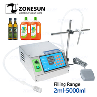 ZONESUN Diaphragm Pump Bottle Water Filler Semi automatic Liquid Vial Desk top Filling Machine for Juice Beverage Oil Perfume