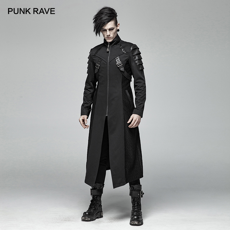 PUNK RAVE Gothic Men's Black Armor Mid length Jackets Coat Steampunk Military Men Coat Stage Performance Costumes Visual Kei-in Jackets from Men's Clothing