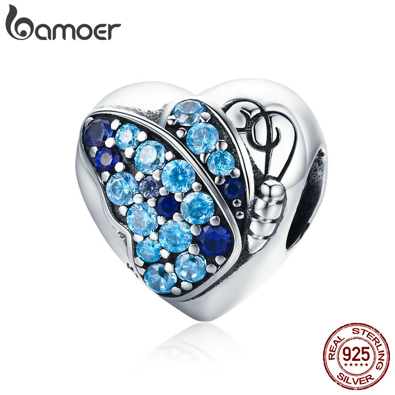 BAMOER Romantic Authentic 925 Sterling Silver Butterfly Flower Love Heart Charm Beads fit Bracelet Fine Jewelry Making SCC653 bamoer romantic new 925 sterling silver i love you forever engrave spacer beads fit charm bracelet