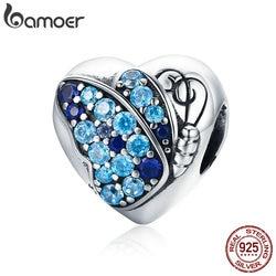 BAMOER Romantic Authentic 925 Sterling Silver Butterfly Flower Love Heart Charm Beads fit Bracelet Fine Jewelry Making SCC653