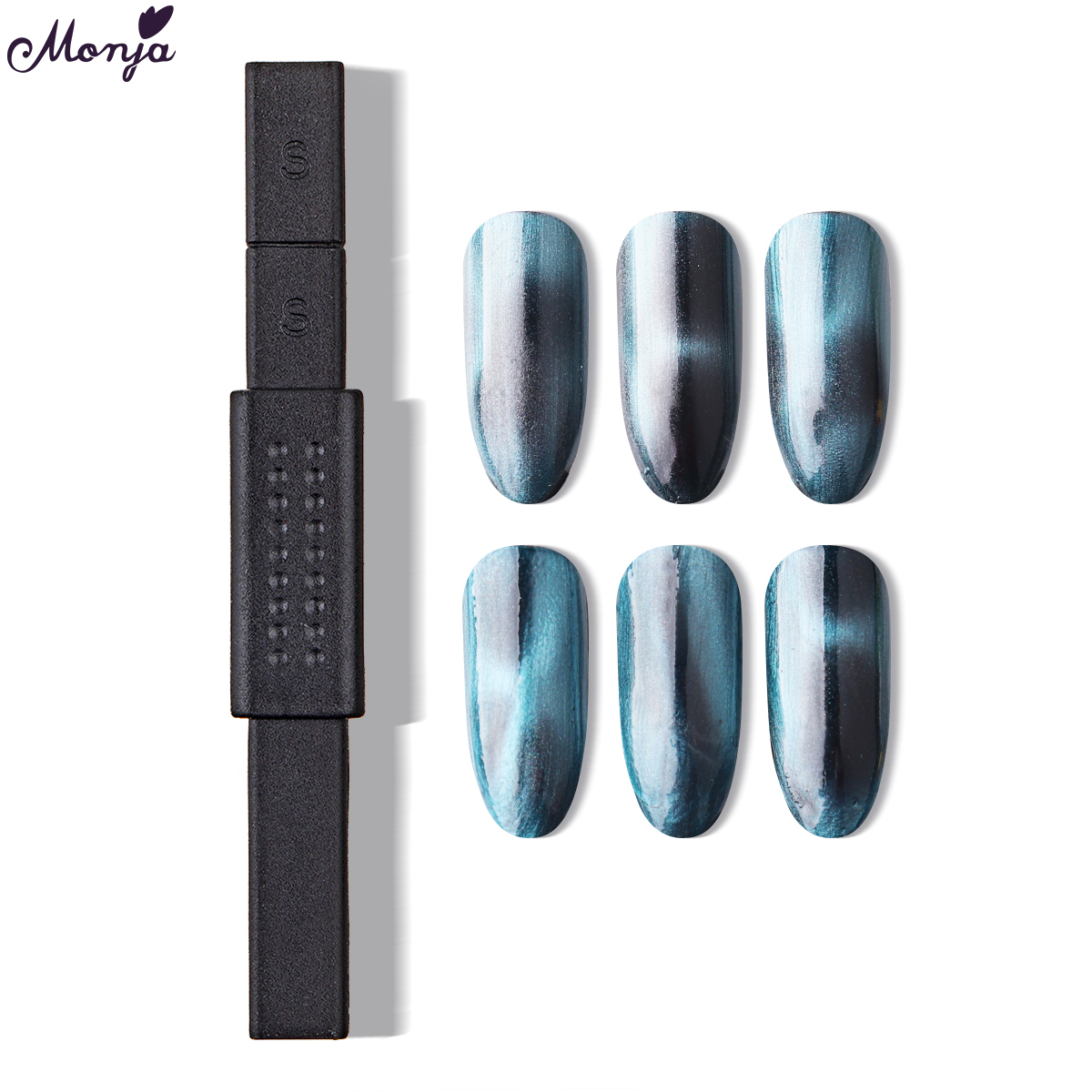 Monja Dual End Nail Art Strong Magnetic Stick 3D Cat Eye Effect Magnet Nail Polish Painting UV Lamp Gel Varnish Manicure Tool