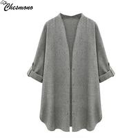 Chesmono Blazer Women Plus Size Loose Grey Autumn Blazers And Jackets Coat Solid Blazer Feminino Casual