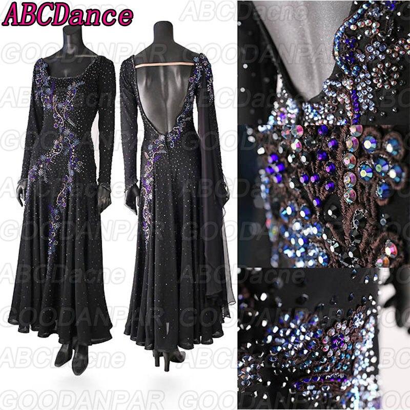 Black Ballroom Competition Gown Long Sleeved Halter Waltz Foxtrot Dance Dress Professional Modern Dance Costume