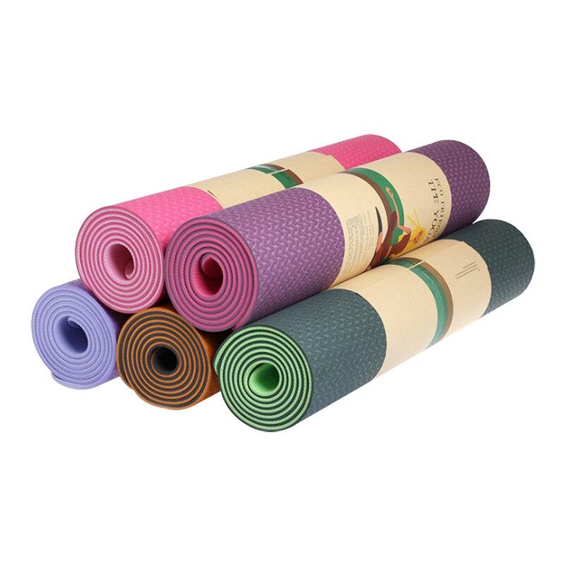 Tapis de yoga TPE Double couleur 6mm débutants respectueux de l'environnement sans goût tapis de yoga de fitness antidérapant