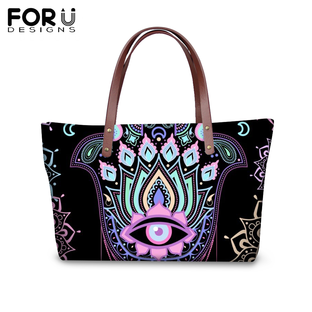 FORUDESIGNS Fashion Hamsa Hand Printing Handbags for Women Girl Eye of Fatima Shoulder Bag Ladies Femme Lucky Shopping