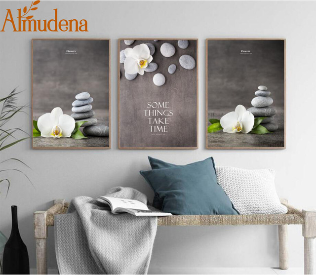 ALMUDENA Chinese Style Flower Painting Zen Phalaenopsis Ornamental Canvas Poster for Living Room Home Decor Unframed & ALMUDENA Chinese Style Flower Painting Zen Phalaenopsis Ornamental ...