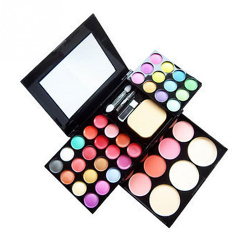 Makeup Set 24 Color Eyeshadow Palette + 4 Color Blusher +6 Lip Gloss +3 Color Puff Cake Cosmetics Kit Maquiagem Completa цена