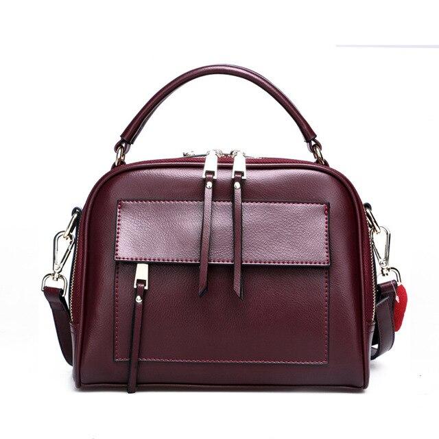 حقيبة كتف نسائية مربعة من الجلد الأصلي بتصميم فاخر وسحّاب مزدوج الطبقة حقيبة نسائية داخلية
